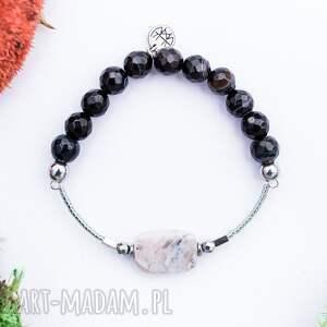 w hand works whw high - black ice, elegancka, kamienie, bransoletka, agat, hematyt