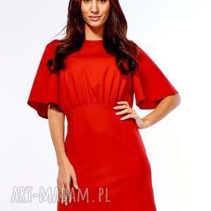 sukienka z luźną górą diana czerwona, wizytowa, wesele