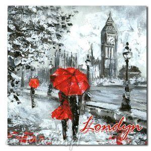 ręczne wykonanie obrazy miasto londyn 9 - 80x80cm obraz xxl na płótnie