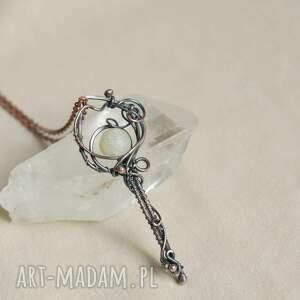 naszyjniki kluczyk - naszyjnik wire wrapping z agatem trawionym, wisior