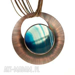 naszyjnik miedziany z niebieskim agatem c611 - agatowe krajobrazy, naszyjnik miedziany, z