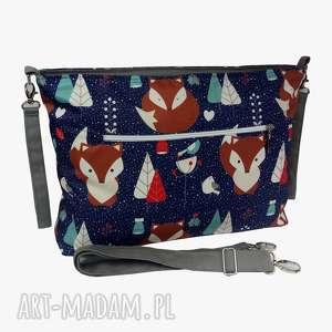 ręcznie wykonane podróżne torba do wózka organizer liski na granacie