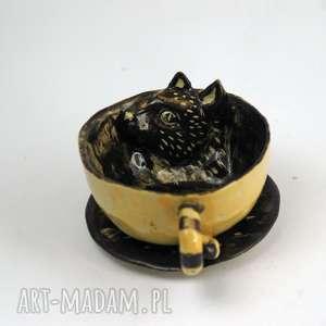 azulhorse ceramiczna filiżanka kubek z kotem miodowo-brązowa przecierki