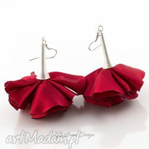 kolczyki silk czerwone kwiaty, długie, wiszące, duże, flamenco, okazałe
