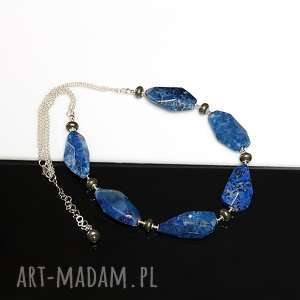 Lapis lazuli naszyjnik, lapis, lazuli, piryt, srebro, naszyjnik