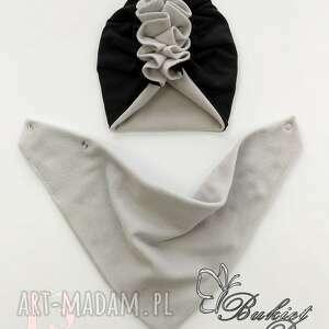 turban polarowy z chustą nr 13, chusta, czapka, komin
