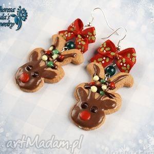 świąteczne kolczyki renifery rudolf czerwononosy, świąteczne, kolczyki