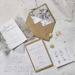 ślub piękne zaproszenie ślubne - rustykalne