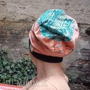 czapka damska pomarańczowa etno, czapka, boho, folk, kolorowa, budda