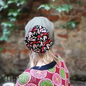 ręcznie robione czapki czapka damska zielona w liski wiosenna