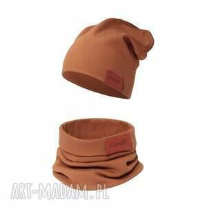 ręcznie robione kominy komplet czapka i komin karmelowy