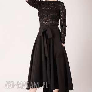elegancka czarna spódnica maksi z koła, długa, elegancka, wesele, koło