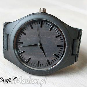 Drewniany zegarek EBONY BLACK, bambusowy, zegarek, drewniany, ciemny, skóra