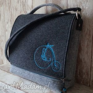 Filcowa torba na ramię z haftem - retro rower happyart filcowa