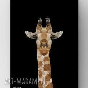 Żyrafa Black, żyrafa, dom, grafika, plakat, lowpoly, zoo
