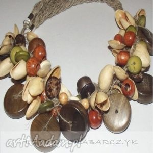 kolorowa jesień-pistacja, wałbrzych, drewno pojedynczy, naszyjnik