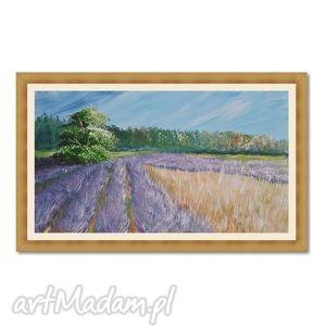 lawendowe pola, pejzaż obraz ręcznie malowany
