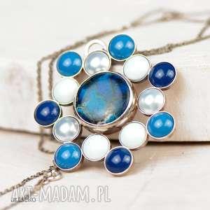 ręcznie robione naszyjniki a586 błękitna rozeta naszyjnik srebrny