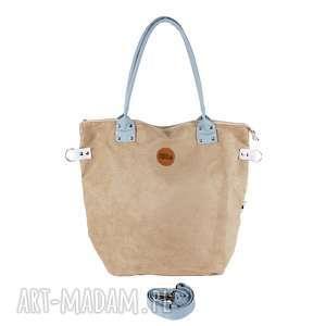 hand-made na ramię torba worek beige szaro błękitny
