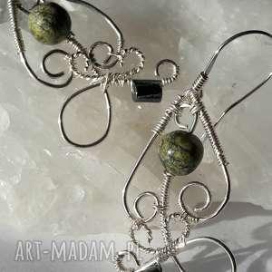 kolczyki wire wrapping serpentynit, kolczyki, wire, wrapping, srebro