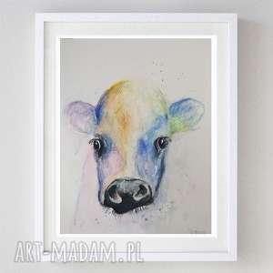 krówka -akwarela formatu 18/24 cm, krowa, abstrakcja, kolorowa, akwarela