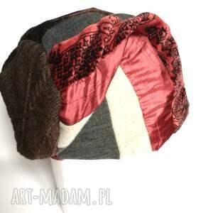czapka patchworkowa ciepła zimowa - czapka, boho, etno, ciepła, kolorowa, orient