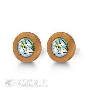 Błękitne niebo - drewniane spinki do mankietów liliarts