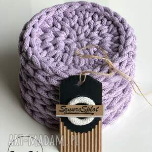 komplet czterech szydełkowych podkładek ze sznurka bawełnianego, podkładki