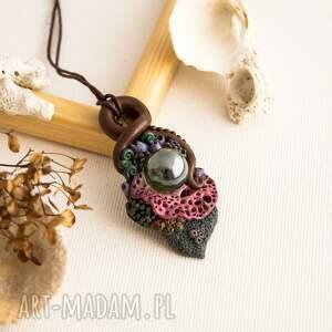 Wisior inspirowany naturą ze szklaną kulą, rafakoralowa, wisior, naszyjnik, rafa