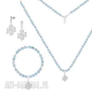 NASZYJNIK z akwamarynów - GENTLE GLOW, akwamaryn, kwiatek, cyrkonie, sztyfty, srebro