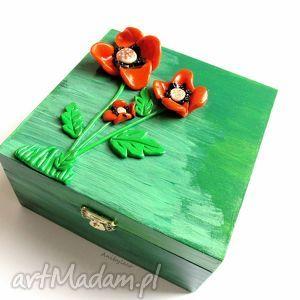 Pudełeczko - maki, pudełko, modelina, masa, fimo