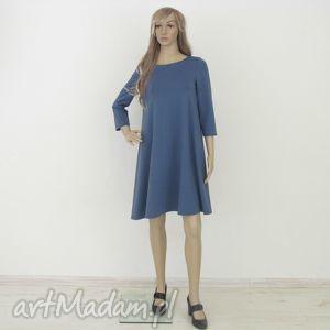 7 - sukienka indygo, sukienka, rozkloszowana, trapez, mini, elegancka, sukienki