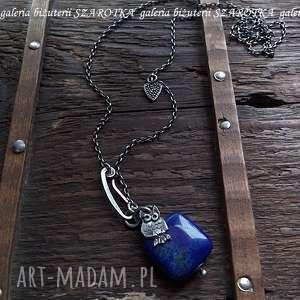 nocne niebo naszyjnik z lapisu lazuli i srebra - lapis, lazuli, srebro, oksydowane, sowa