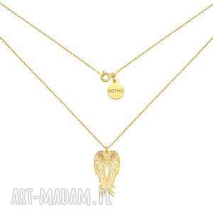 sotho długi złoty naszyjnik ze skrzydłami, naszyjnik, zawieszka, skrzydła, złote