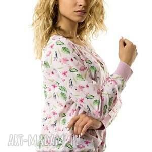 Bluzka na guziki Fenicottero Rosa, flaming, rękaw, zapinana, guziki, romantyczna