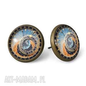 praski zegar - kolczyki wkrętki - niebieskie kolczyki, grafika, sztyfty