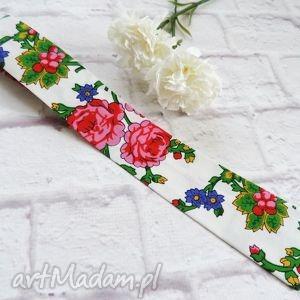 Prezent Krawat męski góralski kwiaty folk BIAŁY, krawat, folk, góralski, biały