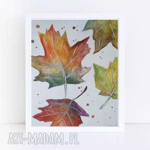 jesienne liście-akwarela formatu a5, akwarela, liście, jesień
