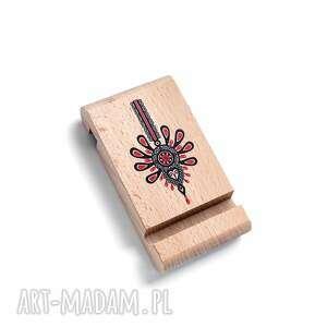 drewniany stojak pod telefon z grafiką parzenica, ludowy, folk, góralski