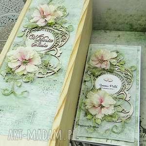 komplet ślubny - opakowanie na wino i kartka w pudełku, ślub, ślubna