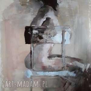 Prezent kobieta 100x70, duży-obraz-kobieta, duże-obrazy, pastelowy-obraz