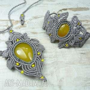 Prezent Komplet biżuterii z agatem brazylijskim, agat, makrama, sznurek, sznurkowa