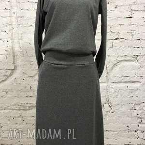 szara dresowa sukienka, dresowa, szara, minimalistyczna, maxi, kieszenie, wygodna