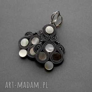 kolczyki sutasz z masą perłową, sznurek, eleganckie, wiszące, grafitowe, masaperłowa