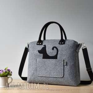 ręczne wykonanie duża szara torebka kufer z filcu pieskiem w kieszeni