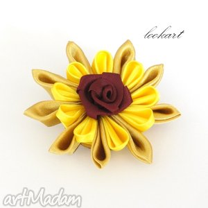 Broszka w złocie broszki lookart broszka, róża, różyczka, kwiat,