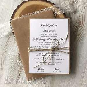 zaproszenie na ślub - jednostronne - brązowa zaproszenie, minimalistyczne