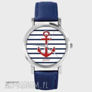 ręcznie zrobione zegarki zegarek, bransoletka - kotwica - granatowy, skórzany