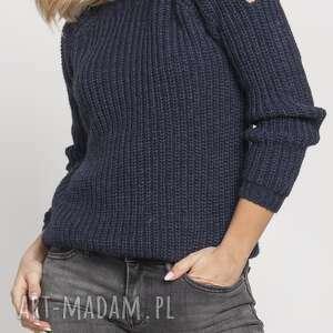 raglanowy sweter, swe126 granat, ciepły, rękawy, rozcięte, modny, wyjściowy