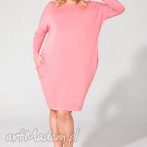 sukienki sukienka ps 6 różowy plus size, one sukienka, dzianina, wiskoza, luźna